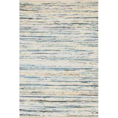 Striped Handmade Flatweave Cotton White/Blue Area Rug - Wayfair