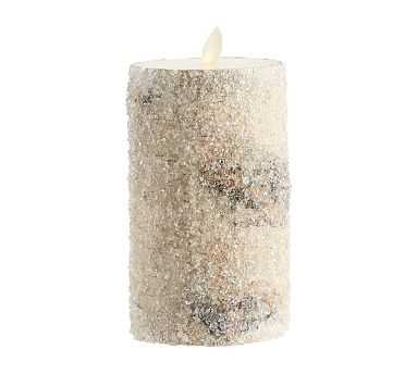 "Premium Flicker Flameless Wax Candle, Sugared Birch, 3x6"" - Pottery Barn"