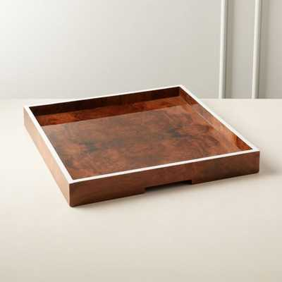 Marq Square Burl Wood Tray Large - CB2