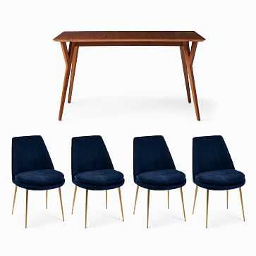 """Mid-Century 39""""-55"""" Expandable Dining Table & 4 Finley Low-Back Upholstered Dining Chairs Set, Distressed Velvet, Ink Blue - West Elm"""