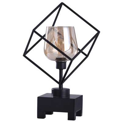 StyleCraft Axis 20 in. Industrial Black Table Lamp with Mercury Glass - Home Depot