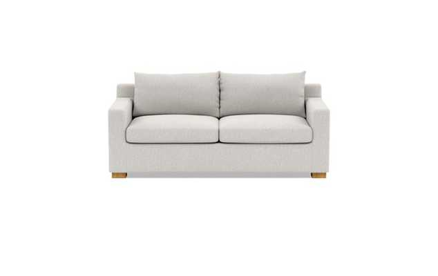 Sloan Sleeper Sleeper Sofa with Beige Pebble Fabric, standard down blend cushions, and Natural Oak legs - Interior Define