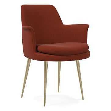Finley Wing Dining Chair, Distressed Velvet, Rust, Light Bronze - West Elm