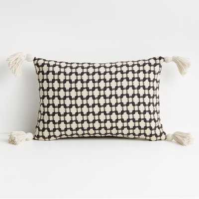 """Tahona 18""""x12"""" Obsidian Textured Pillow with Down-Alternative Insert - Crate and Barrel"""