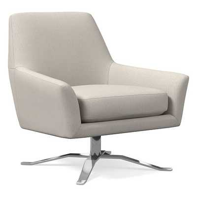 Lucas Swivel Base Chair, Poly, Yarn Dyed Linen Weave, Stone White, Polished Nickel - West Elm