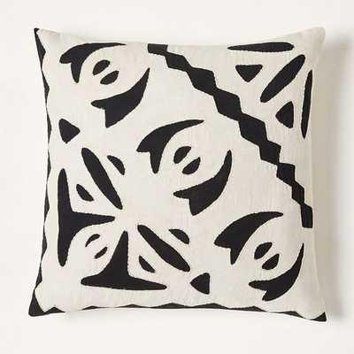 """Barcela Reverse Applique Pillow Cover, 20""""x20"""", Black Stone - West Elm"""