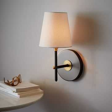Arc Mid-Century Sconce, Single, Antique Bronze/White Linen, Set of 2 - West Elm