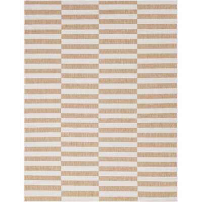 Striped Light Brown/Ivory Indoor / Outdoor Area Rug - Wayfair