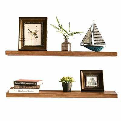 Denton 2 Piece Pine Solid Wood Floating Shelf (Set of 2) - Wayfair