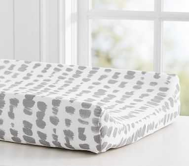 Organic Brushstroke Dot Changing Pad Cover, Changing, Gray - Pottery Barn Kids
