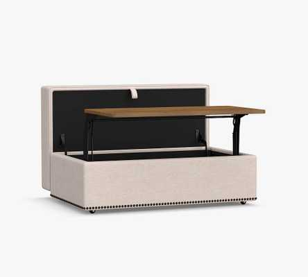 Turner Square Arm Upholstered Storage Ottoman with Pull Out Table with Nailheads, Polyester Wrapped Cushions, Performance Heathered Basketweave Navy - Pottery Barn