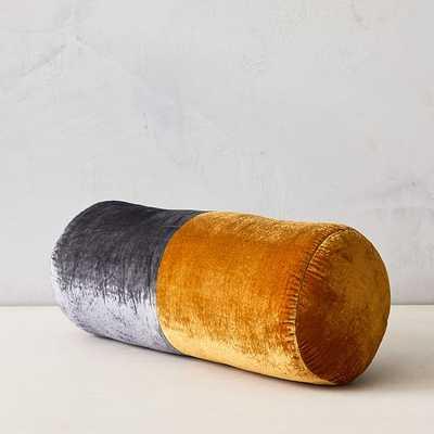 """Lush Velvet Bolster Pillow, 18""""x8"""", Iron Gate & Golden Oak - West Elm"""