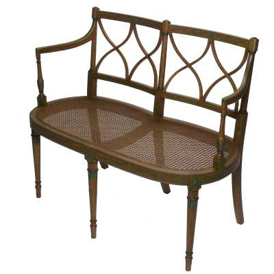 French Market Collection Julia Settee Bench Color: Brown/Green - Perigold