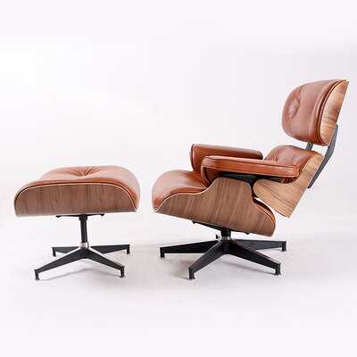 "Vart Geunuine Leather Swivel 34"" Lounge Chair and Ottoman - Wayfair"
