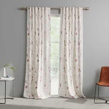 """Cotton Canvas Floral Study Curtains, 48""""x96"""", Pink Stone - West Elm"""