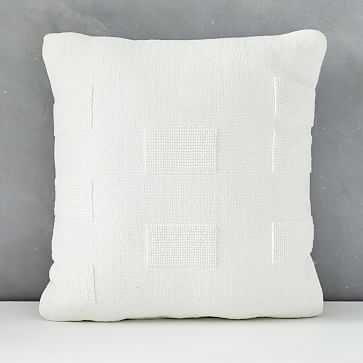 "Outdoor Tufted Pillow, 20""x20"", Stone White - West Elm"