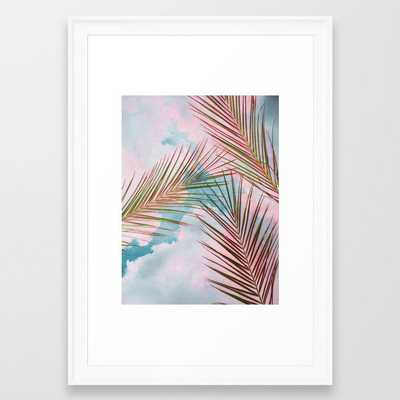Palms + Sky Framed Art Print by 83 Orangesa(r) Art Shop - Scoop White - SMALL-15x21 - Society6