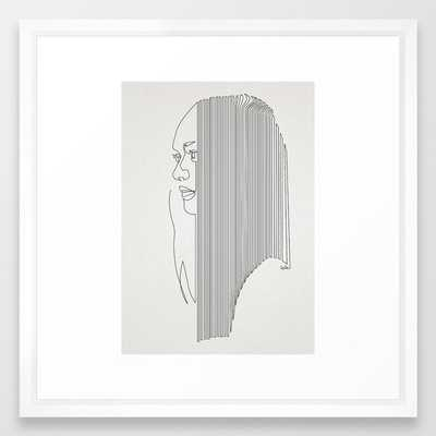 One Hairy Line Framed Art Print by Quibe - Vector White - MEDIUM (Gallery)-22x22 - Society6