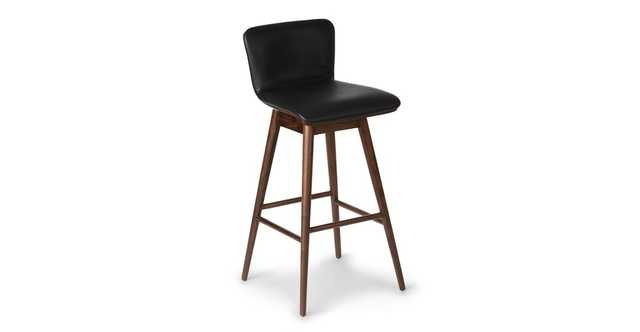 Sede Black Leather Walnut Swivel Bar Stool - Article