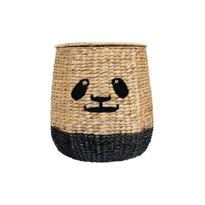 Bloomingville Handwoven Beige & Black Panda Face Rattan Basket With Lid - Perigold