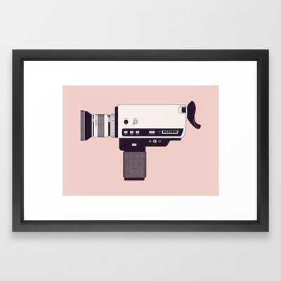 Super 8 Vintage Camera Framed Art Print by Florent Bodart / Speakerine - Vector Black - SMALL-15x21 - Society6
