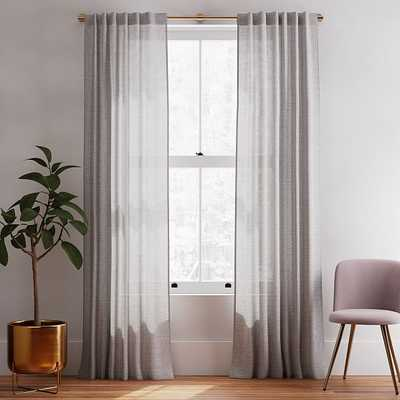 """Solid European Flax Linen Curtain, Frost Gray, 48""""x96"""" - West Elm"""