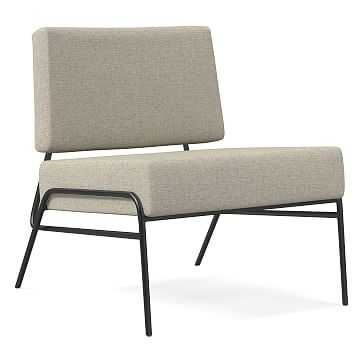 Wire Frame Slipper Chair, Poly, Performance Coastal Linen, Pebble Stone, Antique Brass - West Elm