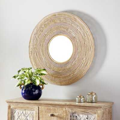 "Large Gold Textured Metal Wall Mirror, 40"" X 40"" - Wayfair"