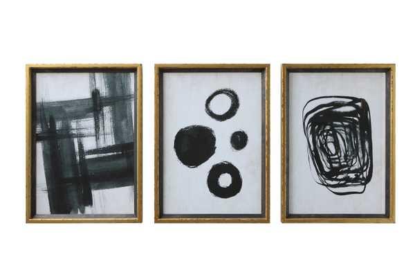 Black & White Abstract Framed Artwork, Set of 3 - Haldin