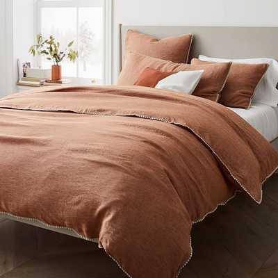 European Linen Pom Pom Duvet, Full/Queen Duvet Cover, Terracotta Melange - West Elm
