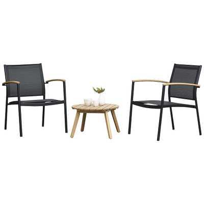 Amazonia Trevi 3-Piece Black and Teak Eucalyptus Sofa Set - Style # 98X97 - Lamps Plus