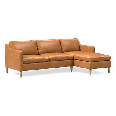 "Hamilton Sectional Set 07: Left Arm 63"" Sofa, Right Arm Chaise, Poly, Charme Leather, Burnt Sienna, Almond - West Elm"