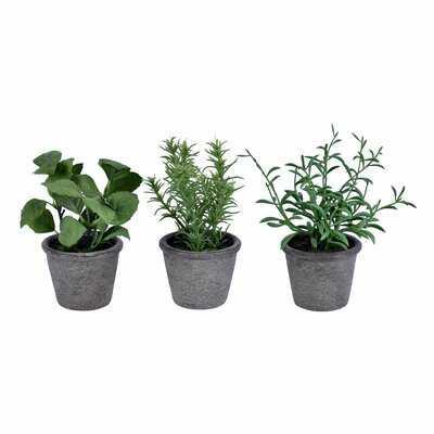 3 Piece Artificial Herbs Plant in Pot Set - Wayfair