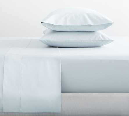 Pearl Blue 400-Thread-Count Organic Percale Sheet Set, Cal. King - Pottery Barn