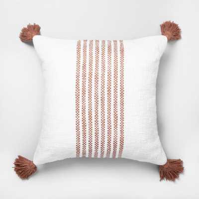 Rose Gold Slub Stripe Throw Pillow - Hearth & Hand with Magnolia - Target