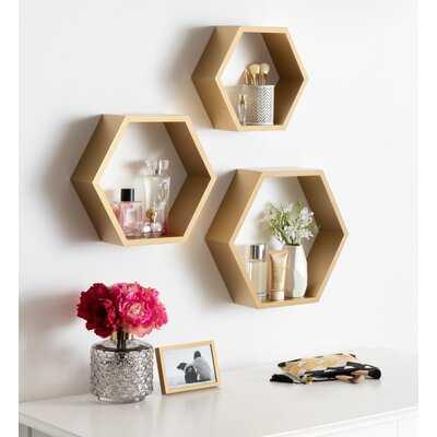 Maebry Hexagon Wood 3 Piece Wall Shelf Set - Birch Lane