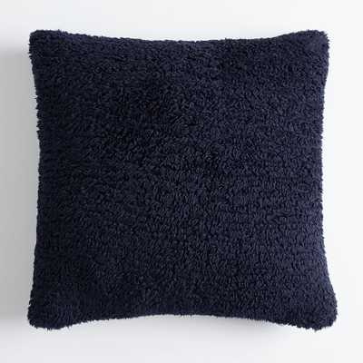 Cozy Euro Recycled Sherpa Pillow Cover, 26x26, Classic Navy - Pottery Barn Teen