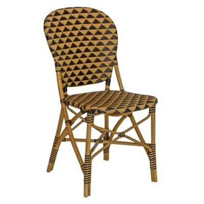 Aria Coastal Beach Brown Triangular Woven Rattan Outdoor Dining Side Chair - Kathy Kuo Home