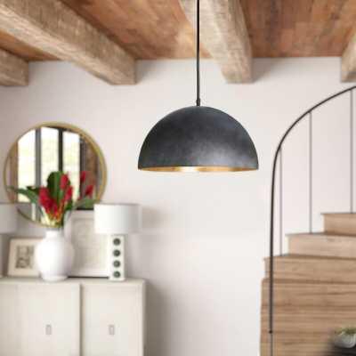 """Regina Andrew Sigmund 1-Light Single Dome Pendant Color: Blackened Steel, Size: 12.75"""" H x 23.5"""" W x 23.5"""" D - Perigold"""