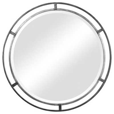 Floating Frame Round Mirror, Silver - West Elm