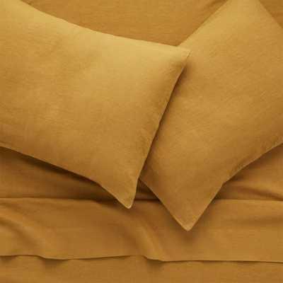 Linen Dijon King Sheet Set - CB2