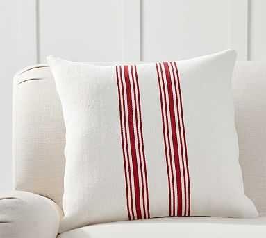 "Culver Reversible Stripe Grainsack Pillow Cover, 20"", Red Multi - Pottery Barn"