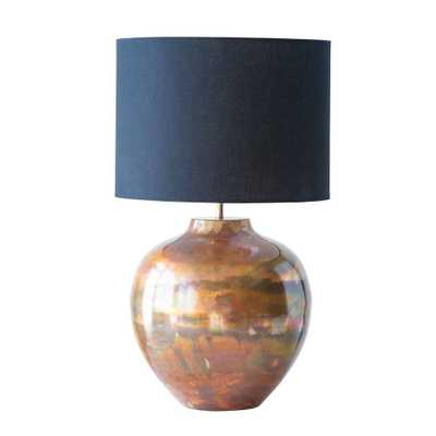 3R Studios 12 in. Copper Table Lamp with Black Shade - Home Depot
