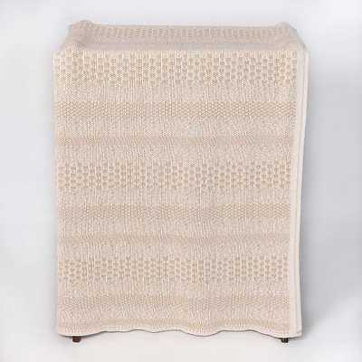 Pixels Throw Blanket Cotton Natural/Tan 60X50 - West Elm