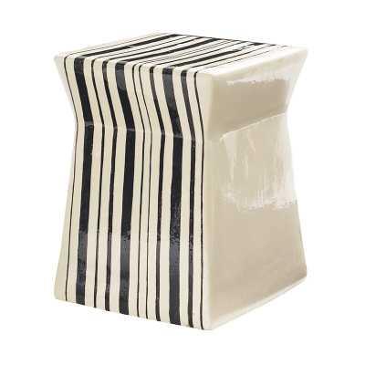 Seasonal Living Ashlar Accent Stool Color: White / Black Stripe - Perigold