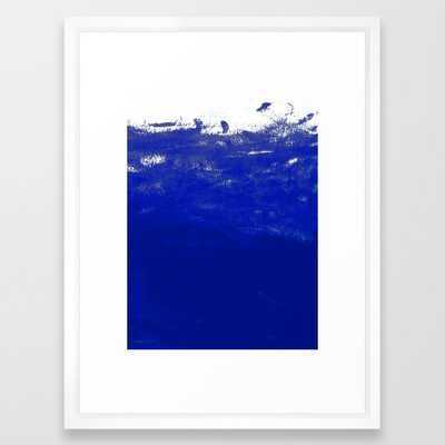 Water Waves Ocean Sea Bright Blue Modern Painting Minimal Monochromatic Urban Dorm College Art Framed Art Print by Charlottewinter - Vector White - MEDIUM (Gallery)-20x26 - Society6