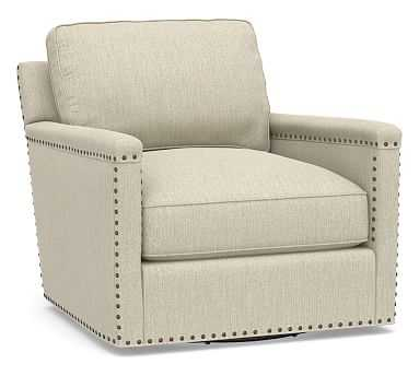 Tyler Square Arm Upholstered Swivel Armchair with Bronze Nailheads, Polyester Wrapped Cushions, Chenille Basketweave Oatmeal - Pottery Barn