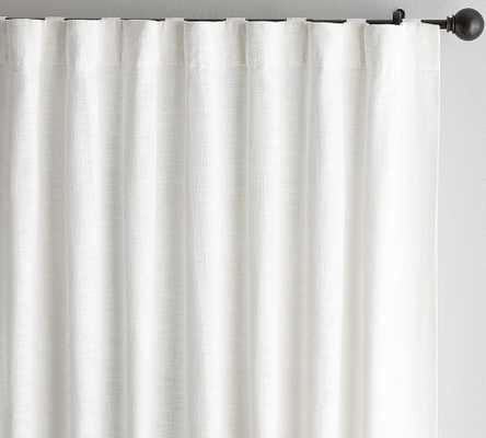 "Seaton Textured Cotton Rod Pocket Curtain, 50"" x 108"", White, cotton lining - Pottery Barn"