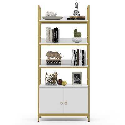 4-Tier White Gold Bookcase Bookshelf With Doors, Storage Cabinet - Wayfair