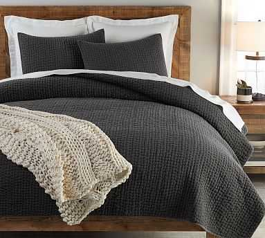Stonewashed Pickstitch Cotton Quilt, King/Cal King, Shale - Pottery Barn